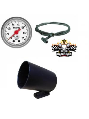 Manômetro Fuel Drag + Kit Instalação Aeroquipe + Copo 52,0mm